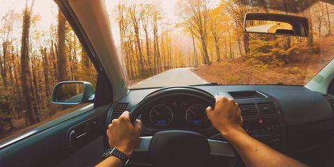 Steering part, Vehicle, Steering wheel, Car, Driving, Windshield, Mode of transport, Road, Road trip, Sky,