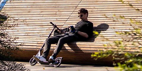 Product, Vehicle, Sitting, Wheel, Scooter, Kick scooter,