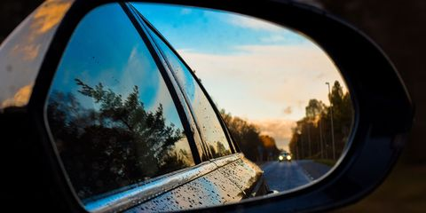 Rear-view mirror, Reflection, Automotive mirror, Sky, Auto part, Photography, Mirror, Tints and shades, Tree, Lens,