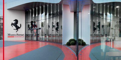 Red, Architecture, Interior design, Room, Building, Flooring, Space, Floor, Ceiling, Art,
