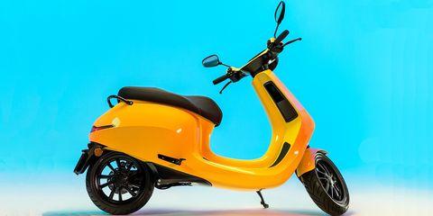 Vehicle, Motor vehicle, Scooter, Yellow, Mode of transport, Automotive design, Moped, Automotive wheel system, Car, Vespa,