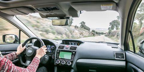Land vehicle, Vehicle, Car, Technology, Center console, Driving, Steering wheel, Plant, Automotive mirror, Subaru,
