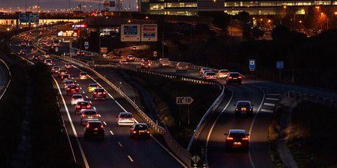 Night, Traffic, Urban area, Metropolitan area, Road, Light, Mode of transport, Transport, Highway, Infrastructure,
