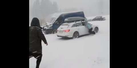 Snow, Vehicle, Winter storm, Car, Mode of transport, Automotive design, Vehicle door, Mid-size car, Winter, Snapshot,