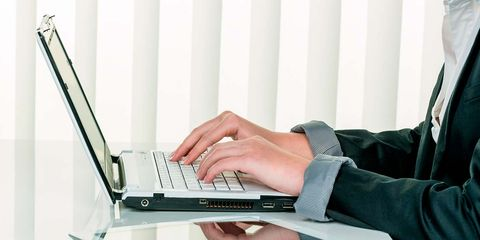 Laptop, Typing, Technology, Electronic device, Personal computer, Hand, Gesture, White-collar worker, Desk, Netbook,