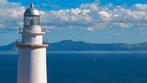 Lighthouse, Blue, Tower, Sky, Beacon, Landmark, Water, Calm, Sea, Cloud,