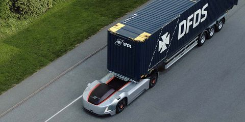 Vehicle, Transport, Mode of transport, Motor vehicle, Car, trailer truck, Lane, Automotive exterior, Automotive design, Race car,