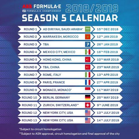 Calendario De Formula 1 2019.La Formula E Presenta Su Calendario 2018 2019 Y Cambios En