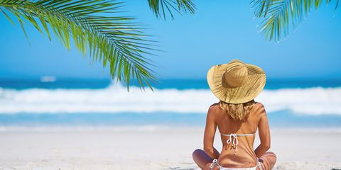 People on beach, People in nature, Vacation, Tropics, Sun tanning, Summer, Beach, Sitting, Palm tree, Caribbean,