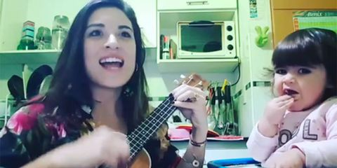 Guitar, String instrument, Musical instrument, Plucked string instruments, Singing, Head, Ukulele, Child, Music, Fun,