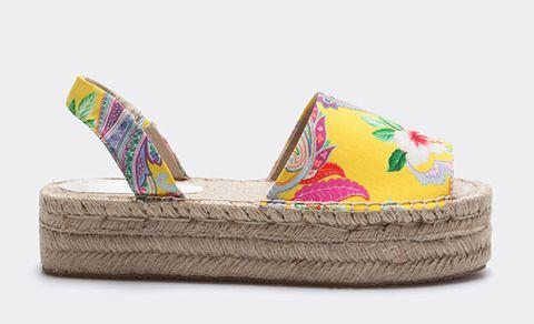 Footwear, Shoe, Yellow, Espadrille, Sandal,