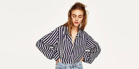 Clothing, Dress shirt, Collar, Sleeve, Denim, Shoulder, Jeans, Shirt, Textile, Standing,