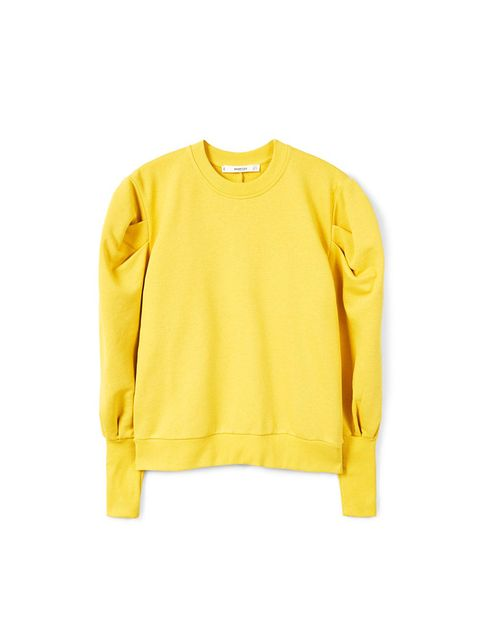 Clothing, Yellow, Sleeve, Outerwear, Sweater, T-shirt, Long-sleeved t-shirt, Jersey, Top, Neck,