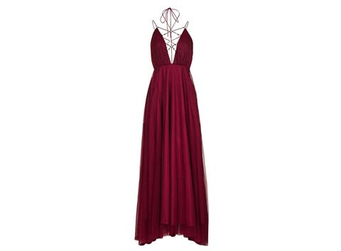 Dress, Sleeve, Shoulder, Standing, Formal wear, Collar, Magenta, One-piece garment, Style, Costume design,