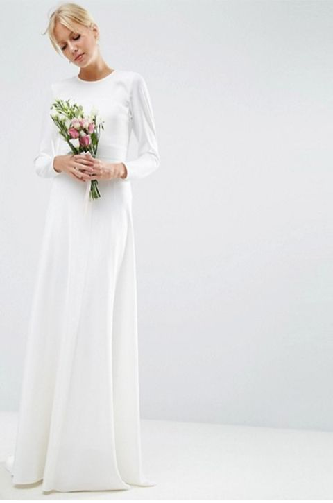 Gown, Clothing, Dress, White, Wedding dress, Bridal clothing, Shoulder, Bridal party dress, Bride, Formal wear,