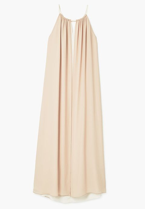 Clothing, Dress, Yellow, Beige, A-line, Neck, Shoulder, Outerwear, Gown, Peach,