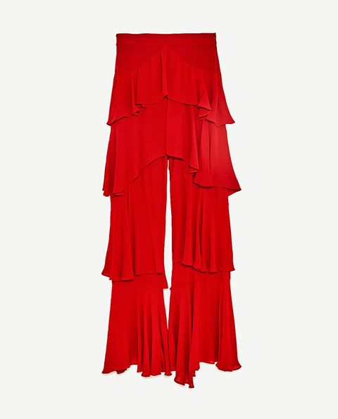Red, Clothing, Textile, Ruffle, Trousers,