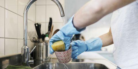 Washing, Hand, Room, Cleaner, Medical glove, Glove, Fluid,