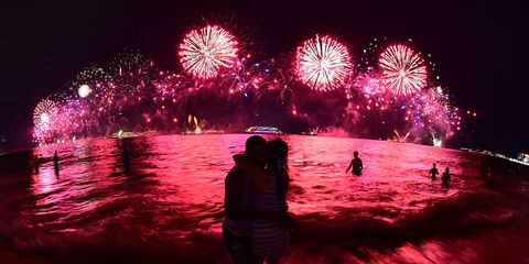 Night, Event, Red, Magenta, Pink, Reflection, Fireworks, Darkness, Holiday, Purple,