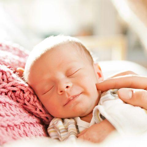 Baby, Child, Skin, Baby sleeping, Nose, Cheek, Sleep, Close-up, Birth, Hand,