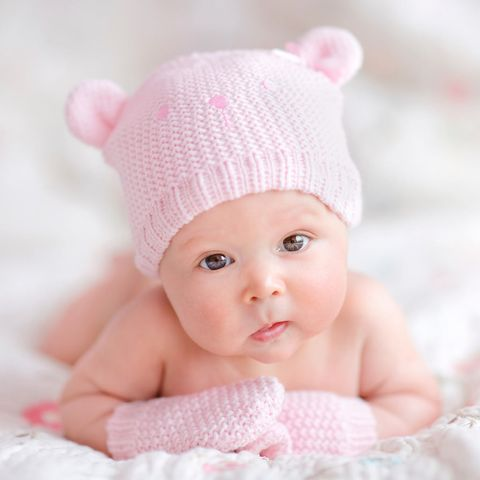 Child, Baby, Photograph, Pink, Skin, Beanie, Head, Cap, Beauty, Knit cap,