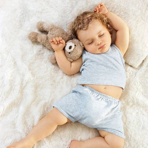 Child, Product, Baby, Toddler, Baby Products, Baby sleeping, Sleep, Stuffed toy, Leg, Baby & toddler clothing,