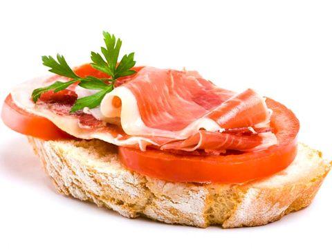 Dish, Food, Cuisine, Ingredient, Bruschetta, Prosciutto, Bayonne ham, Smoked salmon, Staple food, Produce,