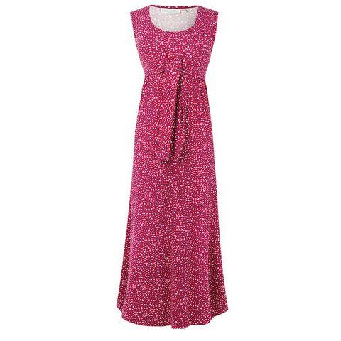 8dcafc37a Este maxi vestido de algodón de Shopmami en color frambuesa con lazo ancho  bajo el pecho y estampado floral