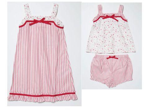 a720627db7 El pijama combina las rayas del pantalón y las estrellas del cuerpo. Un  coqueto lazo remata los modelos.