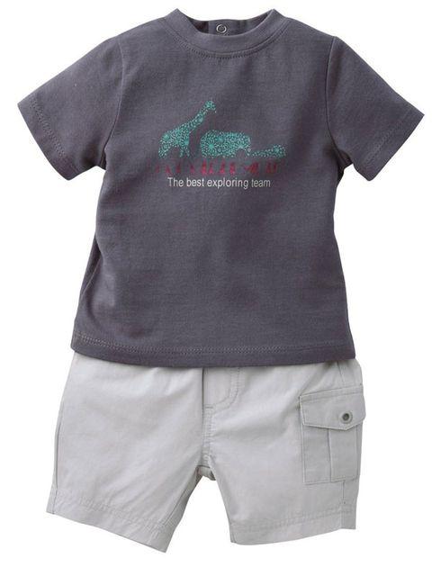 1b6ff045b 100% algodón. La camiseta es de punto con estampado delante y va cerrada  con automáticos por la espalda. El bermudas lleva bolsillos delante y  trabillas.