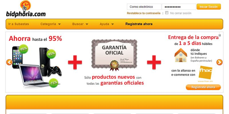 Subastas online de productos tecnológicos