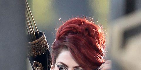 Lip, Hairstyle, Red hair, Fashion, Eyelash, Long hair, Model, Fashion model, Hair coloring, Street fashion,