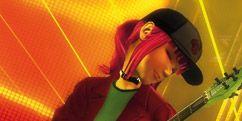 Cap, String instrument accessory, Headgear, Guitar accessory, Musical instrument accessory, Baseball cap, Fictional character, Guitarist, Animation, String instrument,