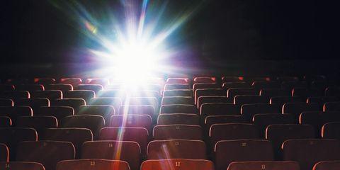 Red, Orange, Line, Carmine, Space, Auditorium, Lens flare, Design, Plastic, Movie theater,