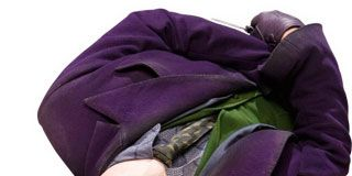 Bag, Purple, Violet, Costume, Magenta, Luggage and bags, Costume design, Fictional character, Stole, Velvet,