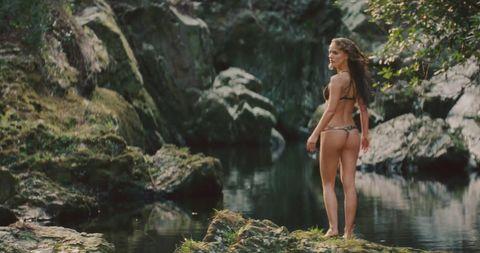 Body of water, Nature, Human body, Photograph, Beauty, Rock, Watercourse, Swimwear, Thigh, Bikini,