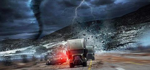 Atmosphere, Storm, Thunderstorm, Atmospheric phenomenon, Truck, Thunder, Automotive lighting, Geological phenomenon, Lightning, Space,