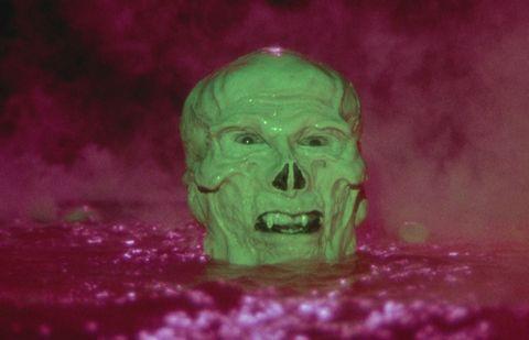 Green, Head, Pink, Skull, Magenta, Jaw, Bone, Photography, Fictional character, Art,
