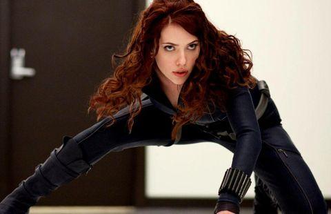 Fictional character, Black widow, Long hair, Latex clothing, Photo shoot, Brown hair, Photography, Superhero, Avengers, Leather,