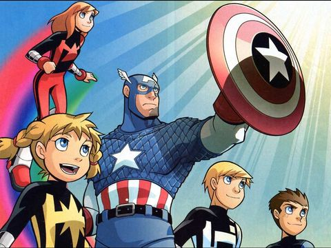 Animated cartoon, Cartoon, Hero, Fictional character, Superhero, Captain america, Team, Animation, Illustration, Fiction,