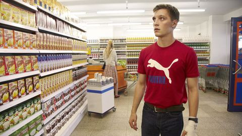 Retail, Jeans, Denim, T-shirt, Convenience store, Shelf, Shelving, Supermarket, Grocery store, Trade,