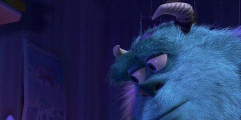 Purple, Magenta, Violet, Snout, Fur, Fictional character, Animation, Plush, Humour, Curious,