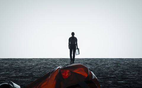 Water, Black, Red, Horizon, Sky, Sea, Standing, Human, Calm, Outerwear,