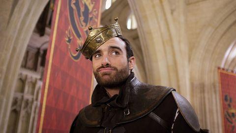 Facial hair, Costume accessory, Headgear, Crown, Armour, Beard, Costume, Leather, Brass, Monarch,
