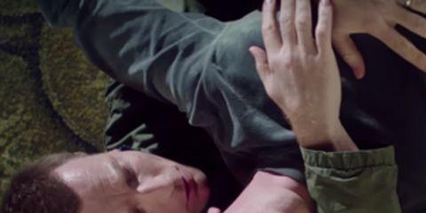 Finger, Cheek, Wrist, Interaction, Gesture, Thumb, Nail, Military camouflage, Flesh, Throat,