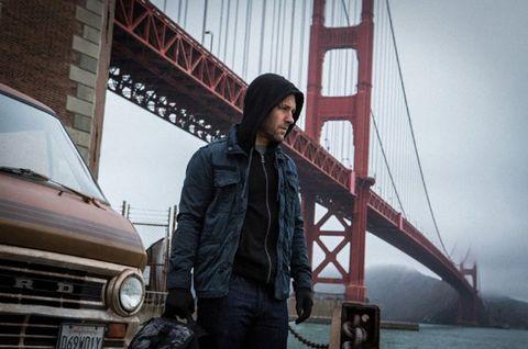 Bridge, Jacket, Headlamp, Grille, Cable-stayed bridge, Travel, Automotive lighting, Bumper, Denim, Hood,
