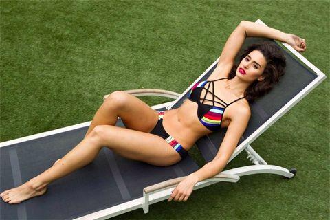 Grass, Human leg, Brassiere, Joint, Swimwear, Summer, Swimsuit top, Thigh, Undergarment, Bikini,