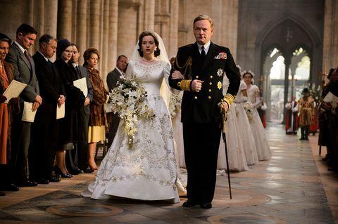 Bridal clothing, Event, Trousers, Coat, Dress, Photograph, Suit, Outerwear, Gown, Wedding dress,