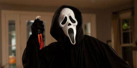 Mask, Shelf, Black, Costume, Fictional character, Masque, Shelving, Costume design, Cloak, Ghost,