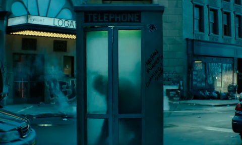 Blue, Telephone booth, Turquoise, Urban area, Snapshot, Payphone, City, Architecture, Building, Facade,
